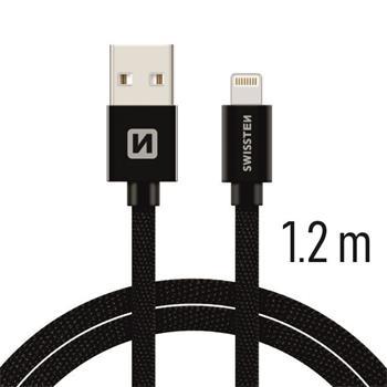 SWISSTEN DATA CABLE USB / LIGHTNING TEXTILE 1,2M BLACK