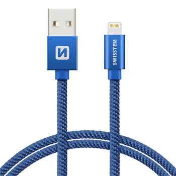 SWISSTEN DATA CABLE USB / LIGHTNING TEXTILE 1,2M BLUE