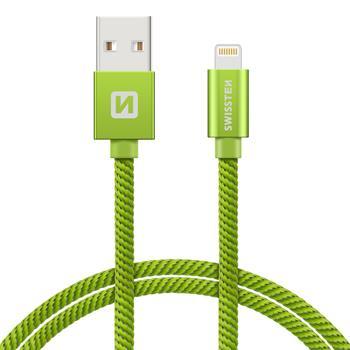 SWISSTEN DATA CABLE USB / LIGHTNING TEXTILE 1,2M GREEN