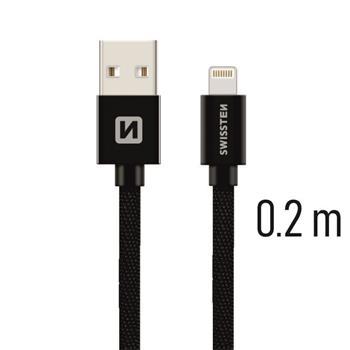 SWISSTEN DATA CABLE USB / LIGHTNING TEXTILE 0,2M BLACK
