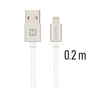 SWISSTEN DATA CABLE USB / LIGHTNING TEXTILE 0,2M SILVER