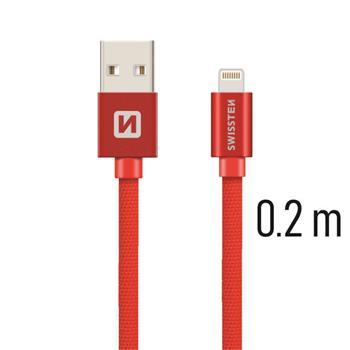 SWISSTEN DATA CABLE USB / LIGHTNING TEXTILE 0,2M RED