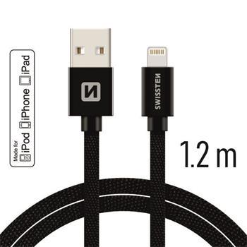 SWISSTEN DATA CABLE USB / LIGHTNING MFi TEXTILE 1,2M BLACK