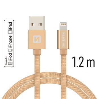 SWISSTEN DATA CABLE USB / LIGHTNING MFi TEXTILE 1,2M GOLD