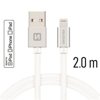 SWISSTEN DATA CABLE USB / LIGHTNING MFi TEXTILE 2,0M SILVER