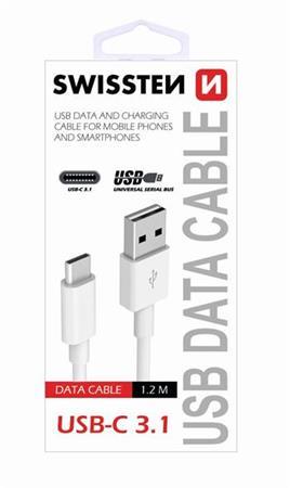 SWISSTEN DATA CABLE USB / USB-C 3.1 1,5M WHITE (9mm)
