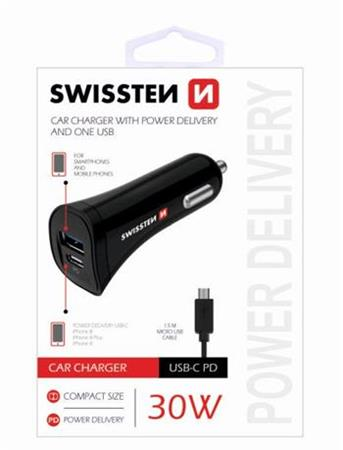 SWISSTEN CAR CHARGER USB-C AND USB 2,4A 30W POWER + Kabel Micro USB