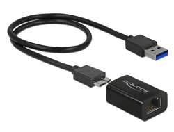 Delock Adaptér Super Speed USB (USB 3.1 Gen 1) s USB Typ Micro-B samice > Gigabit LAN 10/100/1000 Mbps kompaktní
