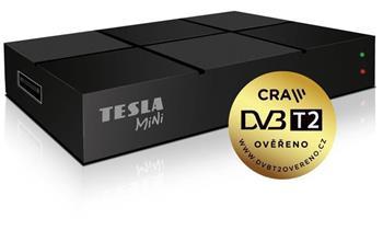 TESLA DVB-T/T2 přijímač TE-380 mini/ Full HD/ H.265/HEVC/ CRA ověřeno/ PVR/ EPG/ USB/ HDMI/ černý