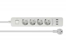 Delock Prodlužovací zásuvka 4-cestná s přepěťovou ochranou a USB nabíječkou bílá