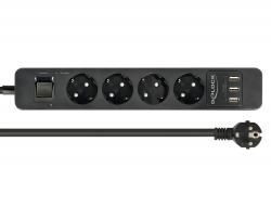 Delock Prodlužovací zásuvka 4-cestná s přepěťovou ochranou a USB nabíječkou černá