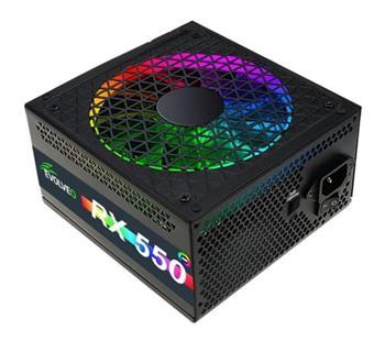 EVOLVEO RX 550, zdroj 550W ATX, RGB rainbow vent. 14cm, tichý, 80+, bulk