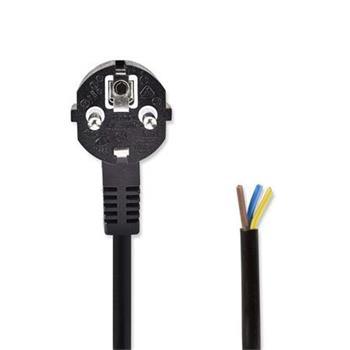 Nedis PCGP10700BK20 - Napájecí Kabel | Schuko Úhlová Zástrčka – Otevřený Konec Kabelu | 2 m | Černá barva