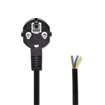 Nedis PCGP10700BK30 - Napájecí Kabel | Schuko Úhlová Zástrčka – Otevřený Konec Kabelu | 3 m | Černá barva