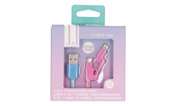 2-Power 4ft. USB to Micro/Lightning cabel- Hombre Blue/Pink 1m