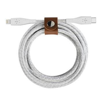 Belkin BOOST^CHARGE™ DURATEK USB-C™ kabel s lightning konektorem, 1,2m, bílý + řemínek