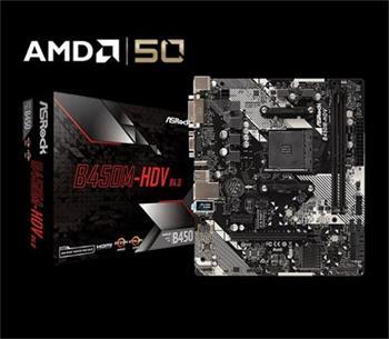 ASROCK MB B450M-HDV R4.0 (AM4, amd B450, 2xDDR4 3200, 4xSATA3, 7.1, USB3.1, VGA+DVI +HDMI, mATX)