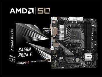 ASROCK MB B450M PRO4-F (AM4, amd B450, 4xDDR4 3200, 4xSATA3, 7.1, USB3.1, VGA+DVI +HDMI, mATX)
