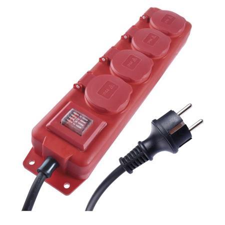 Emos prodlužovací šňůra P14151 - 4 zásuvky, 5m, 16A, s vypínačem, venkovní IP44, červená
