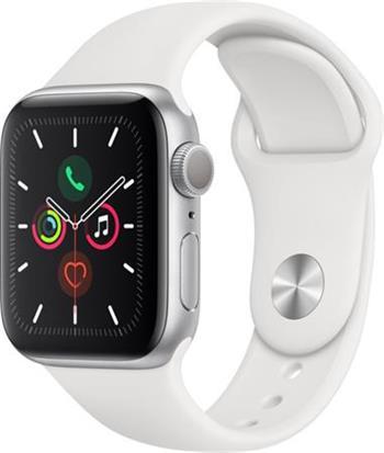 Apple Watch Series 5 44mm stříbrný hliník s bílým sportovním řemínkem