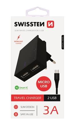 SWISSTEN SÍŤOVÝ ADAPTÉR SMART IC, CE 2x USB 3 A POWER ČERNÝ+ DATOVÝ KABEL SWISSTEN USB / MICRO USB 1,2 M ČERNÝ