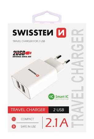 SWISSTEN SÍŤOVÝ ADAPTÉR SMART IC, CE 2x USB 2,1 A POWER BÍLÝ