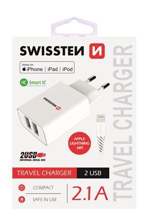 SWISSTEN SÍŤOVÝ ADAPTÉR SMART IC, CE 2x USB 2,1 A POWER BÍLÝ + DATOVÝ KABEL SWISSTEN USB / LIGHTNING 1,2 M BÍLÝ