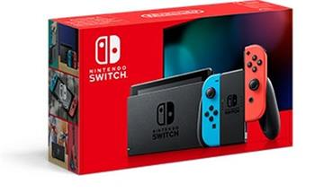 Nintendo Switch console with neon red&blue Joy-Con V2