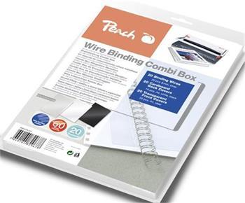 PEACH vazací drátěný Binding Combi Box PW079-07, 20 drát 8 mm, 10+10 obal, 20x transparentní obal