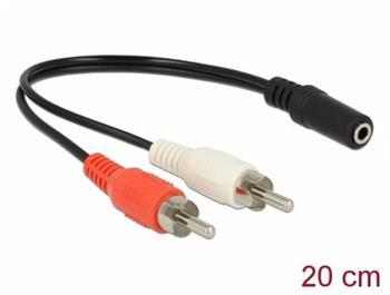 Delock Audio kabel s 2 x RCA zástrčkovým konektorem na 1 x 3,5 mm třípinový zástrčkový stereo konektor, 20 cm