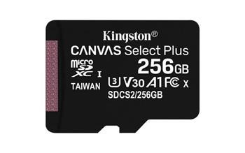 KINGSTON 256GB microSDHC CANVAS Plus Memory Card 100MB/85MBs- UHS-I class 10 Gen 3 - bez adaptéru