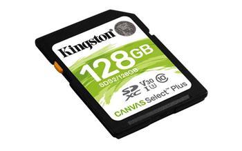 KINGSTON 128GB SDHC CANVAS Plus Class10 UHS-I 100MB/s Read Flash Card