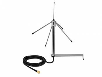 Delock 433 MHz Anténa SMA samec 3 dBi všesmerová pevná s pripojovacím kabelem RG-58 C/U 3 m na stenu venkovní stríbrná