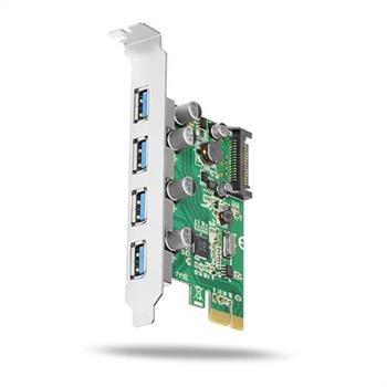AXAGON PCEU-430V, PCIe adaptér, 4x USB3.0, UASP, nabíjení 3A