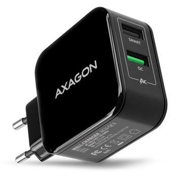 AXAGON ACU-QC5, QUICK a SMART nabíječka do sítě, 2x port QC3.0/AFC/FCP + 5V-2.6A, 31W