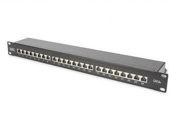 DIGITUS CAT 6A Patch Panel, stíněný, 1U, 24 portů, 8P8C, černy RAL 9005, 483 mm (19