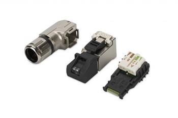 Digitus Konektory RJ45 pro montáž v terénu, T568A až 10 Gigabit Ethernet, úhel 90 °, 1 VPE = 10 ks.