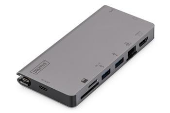 DIGITUS Cestovní dokovací stanice USB-C Multiport, 8 portů, šedá 2x video, 2x USB-C, 2x USB3.0, RJ45, 2xčtečka karet