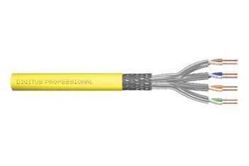 DIGITUS Instalační kabel CAT 7A S-FTP, 1500 MHz Dca, AWG 22/1, kroužek 100 m, SX, žlutá
