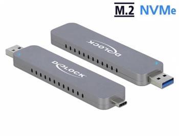 Delock Externí skříň pro M.2 NVME PCIe SSD se zástrčkovým konektorem USB Type-C™ a Typu-A