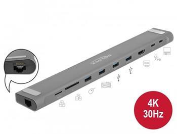 Delock Tenká dokovací stanice s rozhraním USB Type-C™ 4K - HDMI / USB 3.0 / LAN / SD / PD 3.0