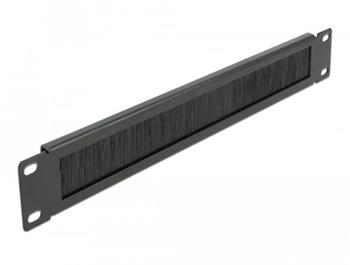 "Delock 19"" Kartáčový pruh pro správu kabelů 1U, černý"