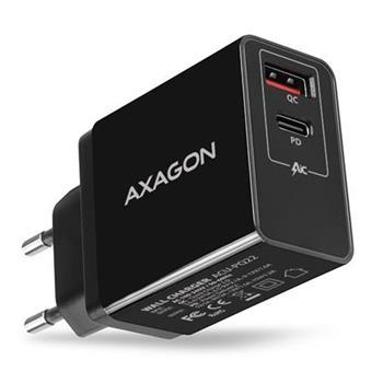 AXAGON ACU-PQ22, PD a QUICK nabíječka do sítě, 2x port QC3.0/AFC/FCP + PD type-C, 22W