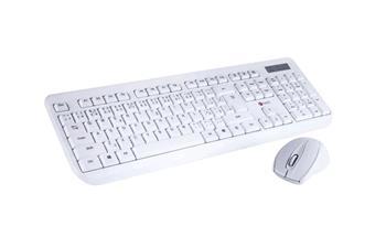 C-TECH klávesnice WLKMC-01, bezdrátový combo set s myší, bílý, USB, CZ/SK