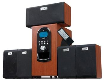 Genius repro SW-HF 5.1 6000 v2, 200W, LCD displej, dálkové ovládání, hnědé