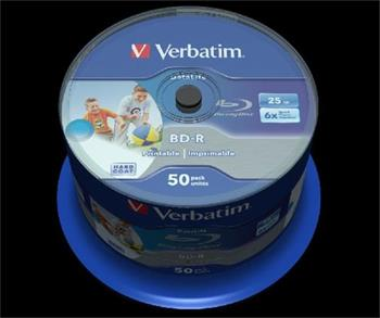 VERBATIM BD-R SL DataLife 25GB, 6x, printable, spindle 50 ks
