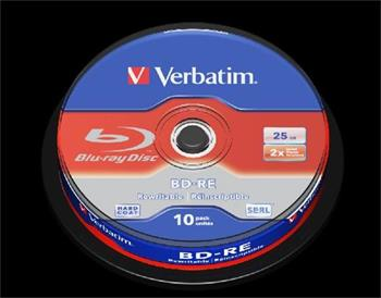 VERBATIM BD-RE SL 25GB, 2x, spindle 10 ks