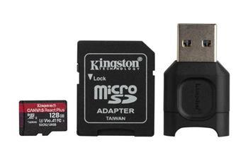 KINGSTON 128GB microSDHC Canvas React Plus 280R/160W U3 UHS-II V90 Card + SD Adptr + čtečka