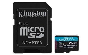 KINGSTON 256GB microSDHC Canvas Go! Plus 170R/100W U3 UHS-I V30 Card + SD Adapter