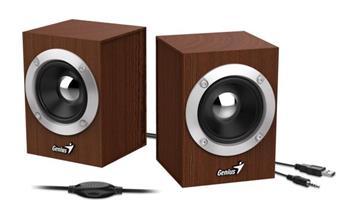 GENIUS repro SP-HF280, 2.0, 6W, USB napájení, 3,5mm jack, dřevěné, hnědé
